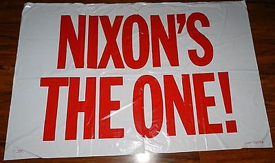 NIXON'S THE ONE! Richard Nixon 1968 Political Campaign Plastic Banner