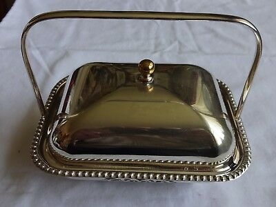 """Vintage Silver Plated Handled Butter Dish With Glass Liner Height 5"""" X 6"""""""