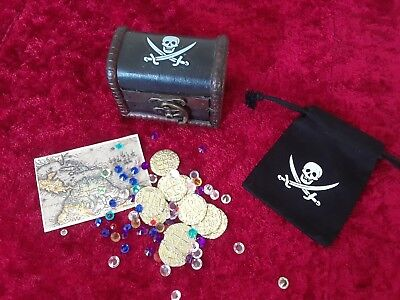 Pirate Treasure Assortment With  10 Metal Gold&Silver coins, Chest, Gems, Map
