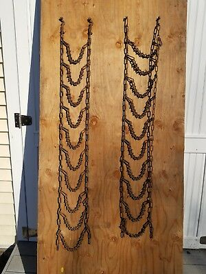 Vintage link farm rusty STEAMPUNK tire chain, pair of them.
