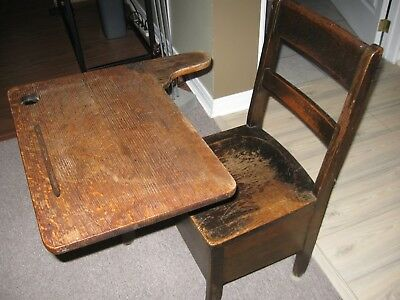 Antique Child's School Desk, Solid Wood Smoothed By Many Little Bottoms