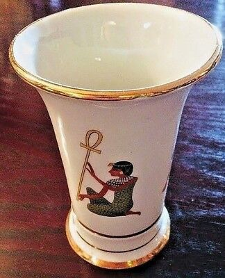 Rare Vintage Egypt Mostorod vase with ancient Egyptian motifs and real gold rim.