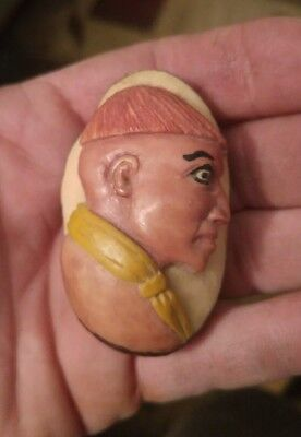 """2 1/2"""" Hand Carved & Painted Tagua Nut Carving Figurine Tribesmen Man Native"""