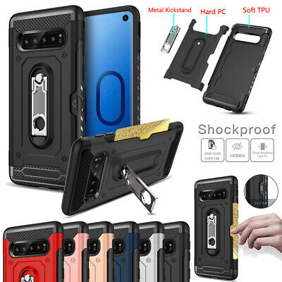 For Samsung Galaxy S10 S10e S10 Plus Heavy Duty Card Pocket Stand Case Cover