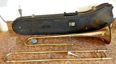 Vtg Collegiate Trombone by Holton, Elkhorn, w/Conn 2 mp.  For Parts/Restoration