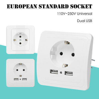 Charger Dual USB Port Wall Socket Power Supply Electrical Outlet EU Standard