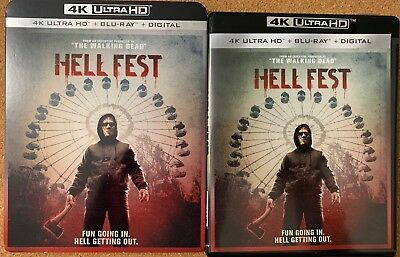 Hell Fest 4K Ultra Hd Blu Ray 2 Disc Set + Slipcover Sleeve Horror Free Shipping