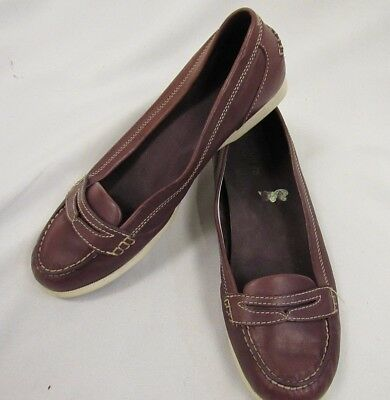 17d9243a04e Timberland Womens Purple Penny Loafer Leather Flat Slip On Boat Shoes 10M  (P027)