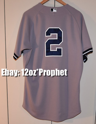 official photos afa91 2120e DEREK JETER AUTHENTIC Gray Majestic AWAY Jersey: MLB New York Yankees #2