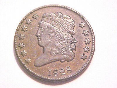 •1828 Half Cent•Rare 12 Star Variety•AU Grade•Fully Original•No Reserve Auction•