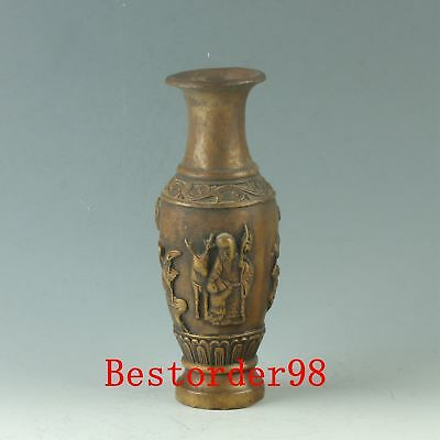 Chinese Copper Handwork Carved Longevity Vase W Ming Dynasty Xuande Mark CC0402