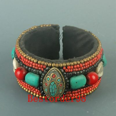 Chinese Turquoise & Red Coral & Shellfish Handwork Carved Bracelet CC0350