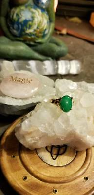 Witch Owned Jade Ring Gold Tone Size  Healing Female Toxin Release New