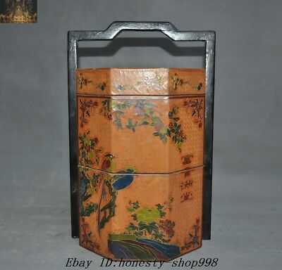 "15""Old China Dynasty Lacquerware wood Flower bird Food box Food containers Boxes"