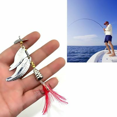 New Metal Durable Feather Treble Hook Crank Bait Fishing Lures Spoon Spinner