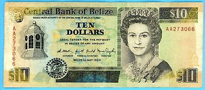 Central Bank of Belize Ten Dollars 1 May 1990