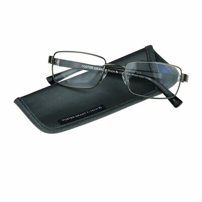 0935036b3389 Mens Gunmetal Foster Grant Ti-Tech Reading Glasses Hyperflex Hinge Titanium  NEW