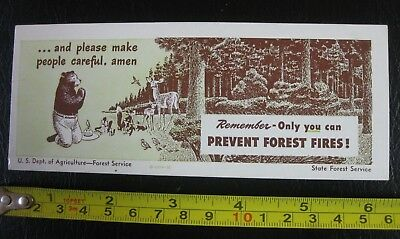 Vintage 1948 SMOKEY the BEAR fire prevention ruler card FOREST ANIMALS U.S.