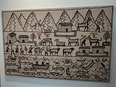Mid Century VINTAGE Handmade 70's Hessian Wool Tapestry Wall Hanging LARGE *