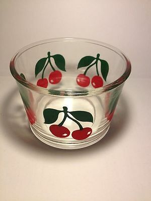 Cherry pattern vintage glass sour cream jar