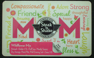 NEW STEAK N SHAKE MOM,Mothers Day + Wildflower Seed Mix GIFT CARD No Cash Value