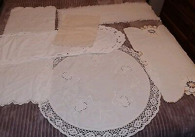 Lot Of VINTAGE CROCHET LACE Doilies Doily table Runner Oval Square tablecloth