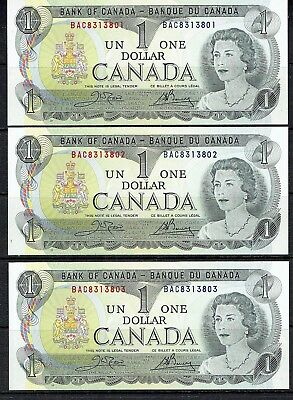 Canada 1973.$1 Bank Noes Uncirculated Consecutive #'s. Crow & Bouney.as Is