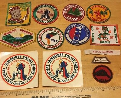 Lot of 11 patches and 2 stickers from 1957 Boy Scout National Jamboree