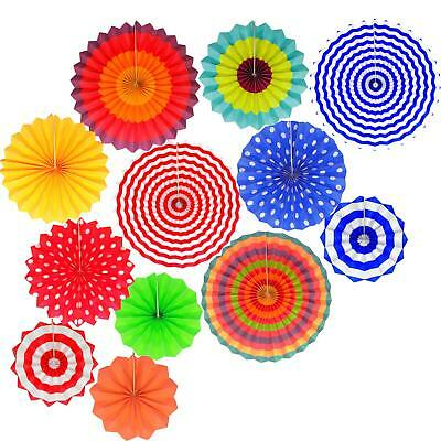 Fiesta party Hanging Paper Fans Set- Colorful Mexican Round Wheel Disc Lanterns