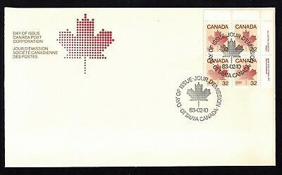 Canada #924 FDC UR Plate Block No. 1 First Class Definitives 32c Maple Leaf 1982