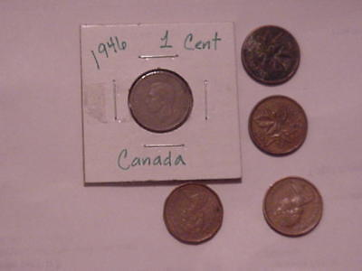 Lot of Five Old Canadian Copper Pennies