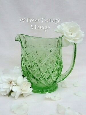 Large~Vintage~Green~Depression~Glass~Jug