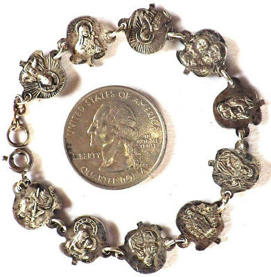 ⭐ Antique Saints Roses Medals Bracelet ✞ Silver Plated Bronze ☧ Catholic Child's