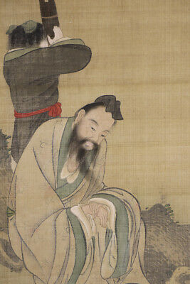 "JAPANESE HANGING SCROLL ART Painting ""Chinese wiseman"" Asian antique  #E5675"