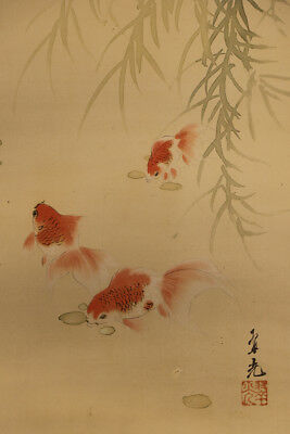 "JAPANESE HANGING SCROLL ART Painting ""Gold fish"" Asian antique  #E5682"