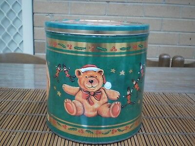 Teddy Bear Christmas Biscuit Barell - Tin