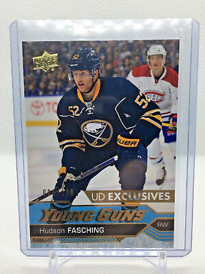 2016-17 UD Series 1 Hudson Fasching Exclusives Young Guns #242 *5/100 Sabres RC