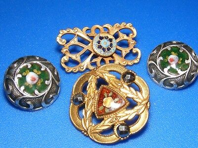 Antique Lot of 3 mixed Champleve Enamel Buttons foil, cut steels,Paris Backs,
