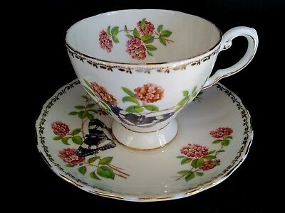Royal Tuscan Bone China Cup & Saucer Set, Butterfly and Flowers Design