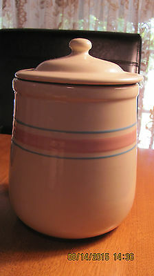 White Pink Blue Hand Crafted Mccoy Stone Craft Cookie Jar
