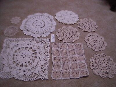 10 Hand crocheted doily embroidered vintage Doiley lot J