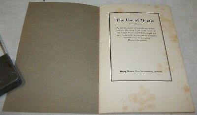 1922 Rare Antique Vintage The Use Of Metals Hupp Motor Car Corporation Sweet