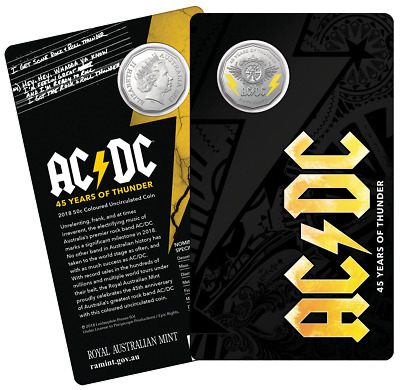 2018 AC/DC 45 YEARS OF THUNDER COLOURED 50c COIN SOLD OUT A THE MINT RARE ACDC