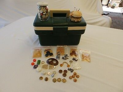 VINTAGE, RETRO SEWING CARRY CASE, PIN CUSHION, BUTTONS Incl. MOP, BUCKLES, Etc