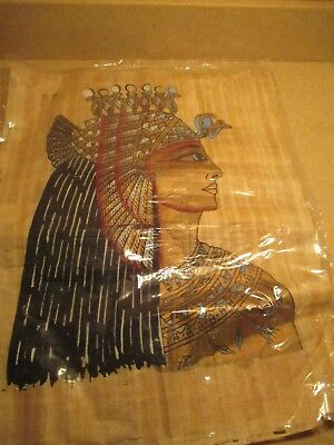 """Egyptian Papyrus painting of Cleopatra 16""""H x 12 1/2""""L"""
