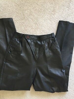 Womens Vintage 80s Black Highwaisted Leather Trousers XS/S