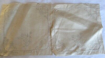 Pair Linen D'oileys #5343 With Floral Pattern To Embroider