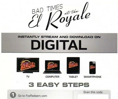 Bad Times At The El Royale Digital Code no Blu-ray Or DVD Canadian Copy *READ*