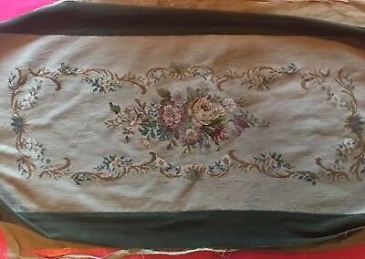 Antique Large Needlepoint Tapestry Stool/bench Cover