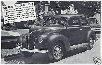 1938 FORD V-8 TUDOR SEDAN Original Vintage DEALER SUPPLY-Style Postcard UNUSED